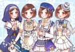 4girls :3 :o apron bang_dream! beret blue_background blue_skirt blush bow bowtie braid brown_eyes brown_hair chino_machiko cup double-breasted dress frilled_apron frilled_hat frilled_shirt_collar frilled_skirt frills hair_ornament hands_clasped hands_together hat hazawa_tsugumi jacket lace long_sleeves multiple_girls multiple_persona nun own_hands_together puffy_short_sleeves puffy_sleeves see-through see-through_sleeves short_sleeves skirt sparkle starry_sky_print teacup teapot top_hat vest wrist_cuffs