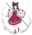 1girl ascot bangs black_hair blue_eyes bow brown_footwear cherry_blossoms commentary_request detached_sleeves floating_hair frilled_bow frilled_skirt frills full_body gohei hair_bow hair_tubes hakurei_reimu highres holding kitaba_utata long_hair long_sleeves looking_at_viewer mary_janes nontraditional_miko ofuda open_mouth petals red_bow red_shirt red_skirt ribbon-trimmed_sleeves ribbon_trim sarashi shirt shoes simple_background skirt skirt_set sleeveless sleeveless_shirt smile socks solo touhou white_background yellow_neckwear