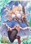 1girl :d akkijin belt blonde_hair blue_eyes boots breasts card_(medium) dress eyebrows_visible_through_hair house huge_weapon jumping large_breasts multicolored multicolored_clothes multicolored_dress official_art one_eye_covered open_mouth outdoors shinkai_no_valkyrie smile sword thigh-highs weapon windmill