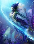 1girl between_breasts breasts center_opening helmet highres jellyfish league_of_legends lionfish medium_breasts mermaid monster_girl nami_(league_of_legends) navel staff tagme tropical_fish underwater zarory