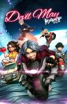 2boys 3girls amano-g black_hair blonde_hair blue_eyes breasts brown_eyes brown_hair chibi cleavage dante_(devil_may_cry) dark_skin devil_may_cry devil_may_cry_5 driving earth fingerless_gloves freckles glasses gloves goggles goggles_around_neck green_eyes grey_hair ground_vehicle gun heterochromia highres jacket lady_(devil_may_cry) long_hair mario_kart motor_vehicle motorcycle multiple_boys multiple_girls navel nero_(devil_may_cry) nico_(devil_may_cry) parody red-framed_eyewear red_eyes red_jacket short_hair space spiky_hair star starry_background submachine_gun trish_(devil_may_cry) van weapon