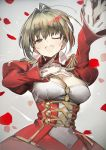 1girl ;d absurdres ahoge arm_up blonde_hair breasts cleavage epaulettes fate/extra fate_(series) green_eyes grey_background hair_intakes highres izuru_(timbermetal) large_breasts looking_at_viewer nero_claudius_(fate) nero_claudius_(fate)_(all) one_eye_closed open_mouth petals short_hair smile solo upper_body