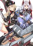 2girls 5boys absurdres azur_lane bangs bismarck_(azur_lane) black_legwear blonde_hair blue_eyes breasts charleianbrown cleavage eyebrows_visible_through_hair finger_to_mouth flag flag_print gloves hair_between_eyes hat headgear highres iron_cross long_hair military military_uniform mole mole_on_breast multicolored_hair multiple_boys multiple_girls prinz_eugen_(azur_lane) redhead rigging rock_band sabaton_(band) sideboob silver_hair streaked_hair two_side_up uniform