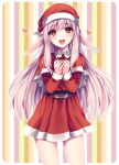 1girl absurdres artist_name belt blush box brown_hair eyebrows_visible_through_hair gift gift_box hat heart highres holding holding_gift long_sleeves looking_at_viewer open_mouth original pointy_ears red_eyes red_headwear santa_costume santa_hat sasucchi95 smile solo striped striped_background watermark