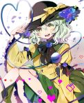 1girl :d arm_ribbon bangs black_headwear black_neckwear black_ribbon blue_flower blue_rose blush bow commentary_request feet_out_of_frame flower frilled_sleeves frills gradient gradient_background green_eyes green_hair green_skirt grey_background hair_between_eyes hand_up hat hat_bow hat_flower heart heart-shaped_pupils heart_of_string highres juliet_sleeves knees_together_feet_apart knees_up koishi_day komeiji_koishi leaf long_sleeves looking_at_viewer neck_ribbon open_mouth petals puffy_sleeves ribbon rose satoupote shirt short_hair sitting skirt smile solo symbol-shaped_pupils third_eye touhou white_background wide_sleeves yellow_bow yellow_shirt