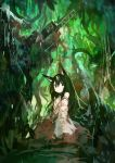 1girl absurdres animal_ears black_eyes black_hair commentary_request green_theme hair_between_eyes hakama headpiece highres japanese_clothes kaamin_(mariarose753) long_hair long_sleeves looking_at_viewer miko off_shoulder original pale_skin plant red_hakama sitting sketch solo tail vines