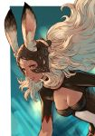 1girl animal_ears armor breasts cleavage dark_skin ears_through_headwear final_fantasy final_fantasy_xii fran greaves helmet highres long_hair makimura_shunsuke medium_breasts parted_lips rabbit_ears red_eyes revealing_clothes solo upper_body vambraces white_hair