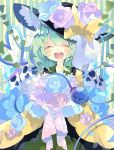 1girl aqua_ribbon bangs black_frills black_headwear blue_fire blue_flower blue_rose blush bouquet bow closed_eyes collared_shirt commentary eyeball facing_viewer fire floral_print flower frilled_shirt_collar frills green_background green_hair green_skirt happy hat hat_bow hat_flower hat_ribbon heart heart_of_string highres koishi_day komeiji_koishi long_sleeves medium_hair multicolored multicolored_background nikorashi-ka open_mouth pink_flower pink_rose ribbon rose shirt skirt skull solo string striped striped_background tears third_eye touhou wide_sleeves yellow_background yellow_shirt