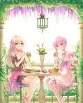:p bangs bare_shoulders blonde_hair blue_eyes bow braid chair choker collarbone dress eyebrows_visible_through_hair food glass hair_between_eyes highres ia_(vocaloid) legs_crossed long_hair looking_at_viewer low_twintails pancake pink_bow pink_hair sakakidani sandwich short_hair_with_long_locks sitting smile strapless strapless_dress table thigh-highs tongue tongue_out tube_dress twin_braids twintails violet_eyes vocaloid voiceroid yuzuki_yukari