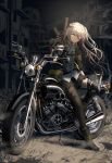 1girl bangs black_legwear boots brown_hair floating_hair full_body girls_frontline gloves ground_vehicle gun h&k_ump h&k_ump45 hair_between_eyes hair_ornament headgear heckler_&_koch holding holding_gun holding_weapon hood hood_down hooded_jacket jacket leaning_against_motorcycle light_brown_hair long_hair looking_at_viewer mod3_(girls_frontline) motor_vehicle motorcycle one-eyed one_side_up open_clothes scar scar_across_eye shirt silence_girl single_knee_pad single_leg_pantyhose skirt smile solo submachine_gun ump45_(girls_frontline) weapon yellow_eyes
