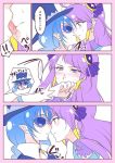 ... 2girls blue_cat blue_eyes blue_hair blush closed_mouth crescent crescent_earrings cure_selene earrings eye_contact hat incoming_kiss jewelry kaguya_madoka licking licking_lips long_hair looking_at_another magical_girl multiple_girls negom pointy_ears precure purple_hair spoken_ellipsis star_twinkle_precure sunglasses tongue tongue_out yellow_earrings yuni_(precure) yuri