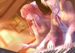 2girls artist_name blazer blonde_hair blue_eyes bulletin_board chalkboard character_request doki_doki_literature_club green_eyes hair_ribbon highres instrument jacket long_hair multiple_girls music neck_ribbon orange_hair piano pin.s playing_instrument playing_piano ponytail red_ribbon ribbon school_uniform sidelocks sun_beam sunlight white_ribbon