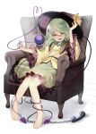 1girl :d armchair bangs barefoot black_headwear brooch cable chair commentary_request eyebrows_visible_through_hair floral_print frilled_shirt_collar frilled_sleeves frills full_body green_eyes green_hair green_skirt hair_between_eyes hand_up hat hat_ribbon heart heart_of_string highres jewelry koishi_day komeiji_koishi long_sleeves looking_at_viewer open_mouth petticoat phone ribbon shadow shirt short_hair sitting skirt smile solo third_eye touhou white_background wide_sleeves yellow_ribbon yellow_shirt yuki_(popopo)