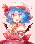 1girl 60mai :3 :d bangs bat_wings blue_hair blush brooch commentary_request dress eyebrows_visible_through_hair fang food hair_between_eyes hat hat_ribbon holding holding_food ice_cream jewelry looking_at_viewer mob_cap open_mouth pink_background pink_dress pink_headwear puffy_short_sleeves puffy_sleeves red_eyes red_ribbon red_sash remilia_scarlet ribbon sash short_hair short_sleeves simple_background smile solo sparkle touhou upper_body wings wrist_cuffs