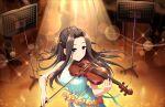 black_eyes black_hair blush dress idolmaster_cinderella_girls_starlight_stage long_hair smile suzumiya_seika violin