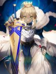 1girl ahoge armor armored_dress artoria_pendragon_(all) bangs blonde_hair blue_cape blue_dress braid cape closed_mouth crown dress excalibur fate/grand_order fate_(series) faulds french_braid fur-trimmed_cape fur_trim gauntlets green_eyes hair_between_eyes highres holding holding_sword holding_weapon juliet_sleeves light long_sleeves no-kan puffy_sleeves royal_robe saber sheath sheathed sidelocks solo sword tied_hair turtleneck_dress v-shaped_eyebrows weapon wind wind_lift