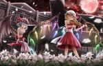 2girls alternate_costume aru0607 bare_arms bare_shoulders bat_wings blonde_hair blue_hair bow_(instrument) breasts collarbone commentary_request crystal dress eyes_visible_through_hair flandre_scarlet flower grand_piano hat hat_ribbon highres holding holding_instrument instrument lavender_dress light_smile lily_(flower) looking_down mob_cap moon multiple_girls music night night_sky outdoors petals piano piano_bench playing_instrument playing_piano red_clouds red_dress red_eyes red_moon remilia_scarlet ribbon sash scarlet_devil_mansion short_hair siblings sisters sitting sky sleeveless sleeveless_dress small_breasts star_(sky) starry_sky strapless strapless_dress touhou violin wings