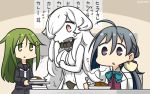 3girls ahoge black_serafuku commentary_request crescent crescent_moon_pin curry curry_rice dated food french_battleship_hime green_eyes green_hair grey_eyes grey_hair hair_between_eyes hair_bun halterneck hamu_koutarou highres kantai_collection kiyoshimo_(kantai_collection) long_hair low_twintails multiple_girls nagatsuki_(kantai_collection) necktie rice school_uniform serafuku shinkaisei-kan shirt triangle_mouth twintails upper_body white_neckwear white_shirt