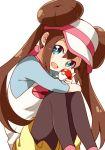 1girl :d black_legwear blue_eyes blue_sleeves brown_hair creatures_(company) double_bun game_freak hair_bun hat highres holding holding_poke_ball long_hair looking_at_viewer mei_(pokemon) namori nintendo open_mouth pantyhose poke_ball poke_ball_print pokemon pokemon_(game) pokemon_bw2 raglan_sleeves short_shorts shorts simple_background sitting smile solo twintails very_long_hair visor_cap white_background