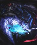 1boy belt black_background black_cape black_pants blue_fire cape cravat energy fate/grand_order fate_(series) fire glowing headless hessian_(fate/grand_order) lobo_(fate/grand_order) mouth_hold pants red_neckwear sharp_teeth sword teeth un_(satoshi0301) weapon white_eyes wolf