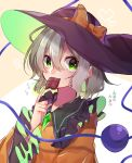 1girl bow chocolate collared_shirt eyeball eyebrows_visible_through_hair frilled_shirt_collar frilled_sleeves frills green_eyes hair_between_eyes hat hat_bow hat_ribbon heart highres komeiji_koishi long_sleeves looking_at_viewer mouth_hold multicolored multicolored_background orange_bow orange_shirt purple_headwear renka_(sutegoma25) ribbon shirt short_hair silver_hair solo string third_eye touhou translation_request upper_body wavy_hair white_background wide_sleeves yellow_background
