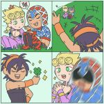 3boys :d absurdres argyle argyle_sweater arms_up black_choker black_hair blonde_hair blue_sky boots bug butterfly choker closed_eyes clover comic earrings four-leaf_clover gamusaur giorno_giovanna green_eyes guido_mista hairband hat headband highres insect jewelry jojo_no_kimyou_na_bouken male_focus motion_blur multiple_boys narancia_ghirga open_mouth orange_hairband outdoors pants purple_pants red_pants sitting sky smile speech_bubble stud_earrings sweater turtleneck wristband