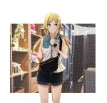 1girl ahoge bag bare_arms bare_shoulders black_shorts blonde_hair blue_eyes bottle casual chair closed_mouth collarbone cup disposable_cup drinking_straw hachimiya_meguru hair_ornament hairclip holding holding_cup idolmaster idolmaster_shiny_colors jewelry long_hair looking_away low_twintails necklace plant polka_dot potted_plant sakeharasu shirt short_shorts shorts shoulder_bag sleeveless sleeveless_shirt solo standing thighs twintails white_shirt wine_bottle