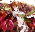 1girl ahoge boots cutlery dirty_clothes dirty_face emma_(yakusoku_no_neverland) food food_on_clothes food_on_face fork green_eyes highres knife leather leather_boots long_sleeves lying meat neck_tattoo number_tattoo on_back on_plate open_mouth orange_hair sauce shoelaces short_hair skirt solo tattoo yakusoku_no_neverland yala1453