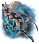 1girl animal_ear_fluff animal_ears armor bow_(weapon) breasts cleavage cleavage_cutout dark_skin dutch_angle ears_through_headwear final_fantasy final_fantasy_xii fingernails fran full_body greaves helmet high_heels highres long_fingernails long_hair makimura_shunsuke medium_breasts navel night outdoors parted_lips pelvic_curtain rabbit_ears red_eyes revealing_clothes see-through sharp_fingernails solo vambraces viera weapon white_hair