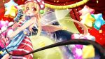 1girl absurdres adapted_costume american_flag_dress balloon bangs bare_arms bare_shoulders blonde_hair blue_dress blush breasts cable clownpiece commentary_request confetti cowboy_shot curtains diamond_(shape) dress eyebrows_visible_through_hair facial_mark fairy_wings full_moon gloves hand_up hat heart heart_balloon highres holding holding_microphone indica jester_cap long_hair looking_at_viewer microphone mismatched_gloves moon night night_sky open_mouth polka_dot polka_dot_hat purple_headwear red_dress red_eyes red_gloves revision sash sky sleeveless sleeveless_dress small_breasts solo sparkle standing star star_(sky) star_balloon star_print starry_sky striped striped_dress striped_gloves touhou white_dress white_gloves white_sash wings