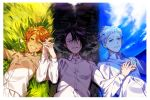 1girl 2boys :d ahoge black_eyes black_hair blue_eyes blush buttons closed_mouth clouds day emma_(yakusoku_no_neverland) flower grass green_eyes hand_holding highres long_sleeves looking_at_viewer lying multiple_boys neck_tattoo night norman_(yakusoku_no_neverland) number_tattoo on_back open_mouth orange_hair outdoors ray_(yakusoku_no_neverland) shirt shore short_hair sky smile tattoo teeth water waves white_flower white_hair white_shirt yakusoku_no_neverland yala1453