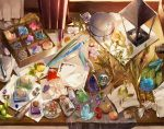 berry bottle crystal desk emerald_(gemstone) feathers flower fountain_pen gem geode hisato_ar indoors inkwell jar lantern letter_opener mushroom no_humans original paper pen wax_seal