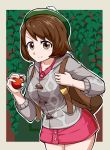 1girl backpack bag breasts brown_eyes brown_hair buttons cardigan closed_mouth collared_dress cowboy_shot creatures_(company) dress eyebrows_visible_through_hair female_protagonist_(pokemon_swsh) game_freak green_headwear grey_cardigan hat highres holding holding_poke_ball legs_together looking_at_viewer medium_breasts nintendo outline pink_dress poke_ball poke_ball_(generic) pokemon pokemon_(game) pokemon_swsh short_dress short_hair smile solo suzusiigasuki tam_o'_shanter white_outline