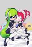 2girls amatcha arm_around_shoulder blue_eyes blush expressionless green_hair grey_eyes highres inkling long_hair looking_at_viewer maid maid_headdress multiple_girls octoling pillow pink_hair pointy_ears ponytail splatoon splatoon_(series) splatoon_2 squidbeak_splatoon sweatdrop tentacle_hair very_long_hair white_legwear