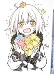 1girl ahoge bangs blush eyebrows_visible_through_hair fate/grand_order fate_(series) flying_sweatdrops fur-trimmed_jacket fur-trimmed_sleeves fur_trim hair_between_eyes holding jacket jeanne_d'arc_(alter)_(fate) jeanne_d'arc_(fate)_(all) long_sleeves looking_at_viewer on_head open_mouth photo saint_quartz sofra solo sweat too_many traditional_media upper_body v-shaped_eyebrows white_hair wicked_dragon_witch_ver._shinjuku_1999 yellow_eyes