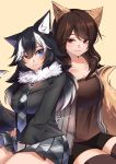 2girls absurdres animal_ears black_hair blue_eyes breasts brown_eyes brown_hair commission dog_ears dog_girl dog_tail eyebrows_visible_through_hair grey_wolf_(kemono_friends) hair_between_eyes hand_on_another's_hip heterochromia highres kemono_friends large_breasts looking_at_another looking_to_the_side multicolored_hair multiple_girls necktie ray_rie simple_background sitting skirt smile tail thigh-highs thighs white_hair wolf_ears wolf_girl wolf_tail yellow_eyes