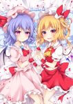 2girls :d absurdres ascot bangs bat_wings bed_sheet blonde_hair blue_hair blush bow breasts brooch commentary_request dress eyebrows_visible_through_hair fang feet_out_of_frame flandre_scarlet frilled_pillow frilled_shirt_collar frills hair_between_eyes hand_holding hand_up hat hat_bow hat_ribbon highres interlocked_fingers jewelry looking_at_viewer lying midriff_peek miy@ mob_cap multiple_girls navel on_back one_side_up open_mouth petals petticoat pillow pink_dress pink_eyes pink_headwear puffy_short_sleeves puffy_sleeves red_bow red_eyes red_neckwear red_ribbon red_skirt remilia_scarlet ribbon rose_petals shirt short_hair short_sleeves siblings sisters skirt skirt_set small_breasts smile touhou white_headwear white_shirt wings wrist_cuffs yellow_neckwear
