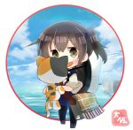 1girl artist_name bag black_legwear blue_hakama brown_eyes brown_hair chibi circle commentary_request full_body hakama hakama_skirt hat highres japanese_clothes kaga_(kantai_collection) kantai_collection long_hair looking_at_viewer pantyhose side_ponytail simple_background smile solo standing stuffed_animal stuffed_cat stuffed_toy taisa_(kari) tasuki white_background