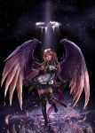 1girl angel artist_name bangs black_background black_footwear black_gloves black_legwear blue_skirt breasts commentary dark_angel_olivia dated dual_wielding elbow_gloves feathers full_body gloves granblue_fantasy high_heels highres holding holding_sword holding_weapon horns light light_brown_hair long_hair looking_at_viewer medium_breasts red_eyes revision shadowverse sidelocks skirt solo splashing standing standing_on_one_leg sword thigh-highs thighs water weapon wings zduke