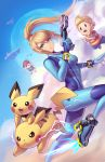 1girl 2boys black_hair blonde_hair blue_eyes bodysuit brown_hair clouds creatures_(company) game_freak gen_1_pokemon gen_2_pokemon gloves gun hat impossible_bodysuit impossible_clothes kaijuicery long_hair lucas metroid mole mole_under_mouth mother_(game) mother_2 mother_3 multiple_boys ness nintendo pichu pikachu pointy_ears pokemon pokemon_(creature) ponytail quiff samus_aran shirt short_hair skin_tight smile striped striped_shirt super_smash_bros. weapon zero_suit