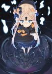 1girl abigail_williams_(fate/grand_order) bangs black_bow black_dress black_headwear blonde_hair bloomers blue_eyes bow closed_mouth dress fate/grand_order fate_(series) forehead glowing glowing_eyes hair_bow highres holding holding_stuffed_animal keyhole long_hair long_sleeves looking_at_viewer object_hug orange_bow parted_bangs perspective polka_dot polka_dot_bow reflection ripples solo stuffed_animal stuffed_toy tapioka_(oekakitapioka) teddy_bear underwear water white_bloomers