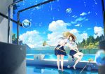 2girls barefoot black_hair blonde_hair blue_skirt blue_sky blurry blush broom bucket closed_eyes clouds couple day depth_of_field female fence hat highres imminent_kiss multiple_girls one_eye_closed original outdoors pool school_uniform serafuku shirt short_hair sitting skirt sky standing sun_hat tree water_drop white_shirt wringing_clothes wringing_skirt yuri
