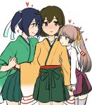 3girls aqua_neckwear bangs blue_eyes blue_hair blush brown_eyes brown_hair closed_mouth collared_shirt commentary dress eyebrows_visible_through_hair furisode green_eyes green_hakama green_kimono grey_legwear hair_between_eyes hair_ribbon hakama hakama_skirt heart hip_vent hiryuu_(kantai_collection) holding_hands iwana japanese_clothes jitome kantai_collection kazagumo_(kantai_collection) kimono light_brown_hair long_hair long_sleeves multiple_girls necktie orange_kimono orange_ribbon pleated_skirt ponytail purple_dress ribbon shirt short_hair simple_background skirt sleeveless sleeveless_dress smile souryuu_(kantai_collection) thigh-highs twintails wavy_mouth white_background white_ribbon white_shirt wide_sleeves