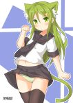1girl :< animal_ear_fluff animal_ears bangs black_legwear black_neckwear black_skirt blush cat_ears cat_tail crescent crescent_hair_ornament crescent_moon_pin extra_ears eyebrows_visible_through_hair green_eyes green_hair hair_between_eyes hair_ornament highres kantai_collection long_hair nagatsuki_(kantai_collection) navel panties paw_pose pepatiku pleated_skirt sailor_collar school_uniform serafuku short_sleeves signature skirt solo striped striped_panties tail thigh-highs underwear