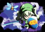1girl actas_(studio) anchovy bangs belt black_belt black_gloves black_ribbon blue_sky box cardboard_box child clouds cloudy_sky commentary cosplay day drill_hair eyebrows_visible_through_hair girls_und_panzer gloves green_hair green_headwear green_tunic hair_ribbon holding holding_shield holding_sword holding_weapon jinguu_(4839ms) link link_(cosplay) long_hair looking_at_viewer master_sword media_factory navi navi_(cosplay) nintendo nintendo_ead open_mouth patch red_eyes reflection ribbon shield short_sleeves sky smile solo standing sword the_legend_of_zelda the_legend_of_zelda:_ocarina_of_time tokyo_mx translated tunic twin_drills twintails weapon younger