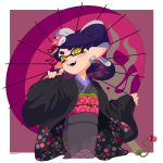+_+ 1girl :d absurdres aori_(splatoon) artist_name blush domino_mask ear_blush earrings fangs grey_kimono hair_ornament haori highres japanese_clothes jewelry kimono long_sleeves mask medium_hair mole mole_under_eye obi open_mouth oriental_umbrella otoboke-san pink_umbrella pointy_ears purple_hair sash sleeves_past_wrists smile solo splatoon splatoon_(series) splatoon_2 symbol-shaped_pupils teeth tentacle_hair umbrella wide_sleeves yellow_eyes