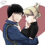 1boy 1girl 2013 black_hair black_shirt blonde_hair blue_jacket breasts brown_eyes couple dated from_side fullmetal_alchemist heart jacket long_sleeves lowres medium_breasts military_jacket profile riza_hawkeye roy_mustang s_(s_r2) shiny shiny_hair shirt short_sleeves smile sweatdrop tied_hair turtleneck white_background