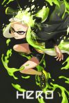 1girl bangs bike_shorts black_background black_cape black_footwear black_shirt black_shorts blunt_bangs brown_eyes cape commentary_request diffraction_spikes domino_mask english_text fangs frown green_hair green_tongue headgear hero_shot_(splatoon) holding holding_weapon inkling long_hair long_sleeves mask no_legwear open_mouth paint_splatter shirt shoes short_shorts shorts single_vertical_stripe solo splatoon_(series) splatoon_1 squidbeak_splatoon standing tentacle_hair very_long_hair vest weapon yellow_vest yeneny