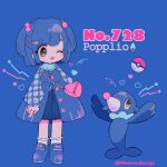 1girl bag blue_background blue_footwear blue_hair character_name creature_and_personification full_body gen_7_pokemon hair_ornament hairclip heart long_sleeves mameeekueya number one_eye_closed open_mouth personification poke_ball poke_ball_(generic) pokemon pokemon_(creature) pokemon_number popplio shoes short_hair shoulder_bag simple_background smile twitter_username
