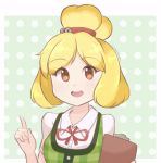 1girl artist_name bangs bell blonde_hair blush border brown_eyes chestnut_mouth chocomiru clipboard commentary doubutsu_no_mori english_commentary eyebrows_visible_through_hair green_background green_vest hair_bell hair_ornament hair_tie hands_up happy holding humanization jingle_bell light_blush looking_at_viewer neck_ribbon open_mouth plaid plaid_vest pointing pointing_up polka_dot polka_dot_background red_neckwear red_ribbon ribbon shiny shiny_hair shirt shizue_(doubutsu_no_mori) short_hair short_sleeves signature simple_background smile solo teeth tied_hair topknot upper_body vest white_border white_shirt